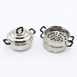 3 Layers Mini Steamer Pot Simulation Miniature Toy for 1 6 1 12 Dollhouse Decor - Silver