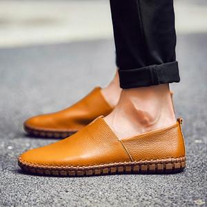 2020 Holgazanes cómodo cuero de los hombres zapatos casual mocasines de alta calidad de los zapatos de conducción masculino ligero calzado con la caja