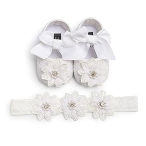 Infants Baby Girl Lace Flower Princess Shoes Floral Headwear Headband Photography Props Set Newest