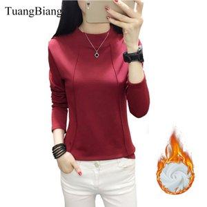 TuangBiang 2019 Winter Водолазка Держите теплые футболки женщина с длинным рукавом Повседневная Tshirt Хлопок кашемира Толстые Tops Camiseta