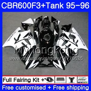 Bodys blanc brillant noir + réservoir pour HONDA CBR 600 F3 FS CBR600FS CBR600 F3 95 96 289HM.28 CBR600RR CBR600F3 95 96 CBR 600F3 1995 1996 Carénage