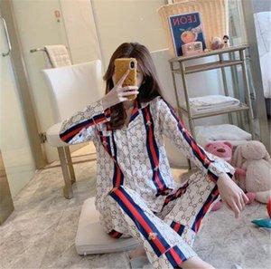 Sommer-Stern-Art-Eis-Silk Pyjamas Pyjamas G Letter Print Nachtwäsche außerhalb Abnutzungs-Hemd Frauen-Freizeit-lange Ärmel Haus Kleidung Anzug