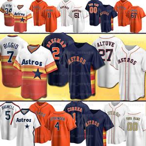 Houston sur mesure 27 Jose Altuve Astros Jersey 2 Alex Bregman Craig Biggio Nolan Ryan Carlos Corre George Springer Baseball Jersey