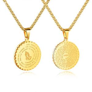 10 adet / grup Altın Titanyum Çelik Kolye Erkekler için Yuvarlak Hıristiyan Namaz Kutsal Kolye Kolye Ücretsiz Kargo