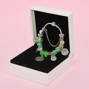 New pulseira contas de vidro verde pingente de jóias Pandora de prata banhado a alta qualidade senhoras DIY de contas pulseira de aniversário caixa original