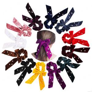 DIY Big Long Bow Streamers Hair Ring Ribbon Girl Elastic Hair Bands Pearl Velvet Scrunchies Tie Headwear Women Hair ropes Accessories