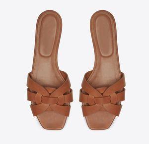 Marka yeni kadın haraç düz sandalet ayakkabı kadın moda terlik intertwining ile hakiki pürüzsüz deri slayt sapanlar sandalias