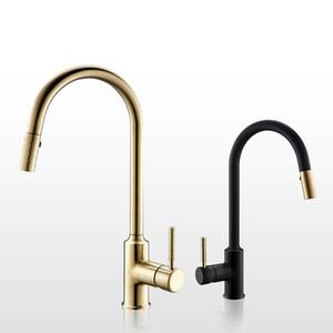 Or brossé robinet de cuisine évier en laiton mitigeur froide et chaude molette tirez sur les robinets double mode de réglage de l'eau
