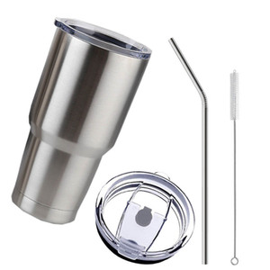 Stainless Steel Tumbler Cup with Lid Straw 30 Oz Double Wall Vacuum Flask Insulated Beer Cup Drinking Thermoses Coffee
