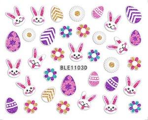 Nail Pascua Serie DIY 3D de la correa de plástico Etiqueta conejito Diseño de uñas Pegatina de la fiesta de niño