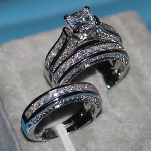 All'ingrosso-Vecalon Fine Jewelry principessa tagliato 20ct Cz Diamond Engagement Wedding Band Ring Set per le donne Anello oro bianco 14KT riempito