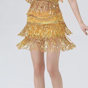 Sexy Mulheres cintura Cadeia Belly Dance cor sólida Mini avental Belly Dance Duplo Row lantejoulas Tassel Cadeia cintura