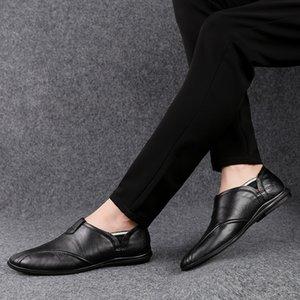 Manebeneschuhe schwarzer beiläufige Plattform Spitzen Schuhe echte Leder-Schuhe Outdoor-Male Loafers Männer Wohnungen Breath Mokassins