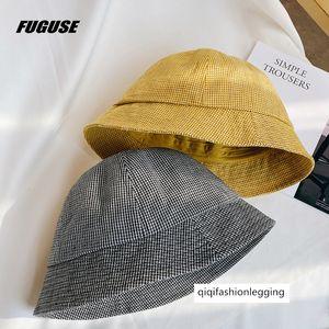 Fisherman female summer all-match bucket basin male ins fashionable casual short eaves Plaid sunshade hat