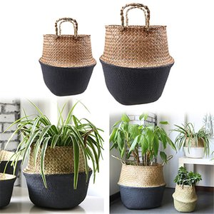 Foldable Handmade Storage Baskets Seagrass Wicker Plant Pot Planter Vase Hanging Rattan Planter Vase Flowerpot Home Decorative 057