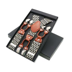 Men's Suspenders Casual Fashion Unisex Braces Elegant Brown Leather Shirt Suspenders Adjustable 6 Clip Belt Strap Dad Gift