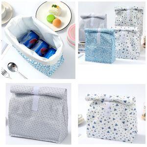 인쇄 캔버스 점심 가방 박스 친환경 화이트 알루미늄 필름 점심 상자 야외 피크닉 절연 가방 HH9-2972