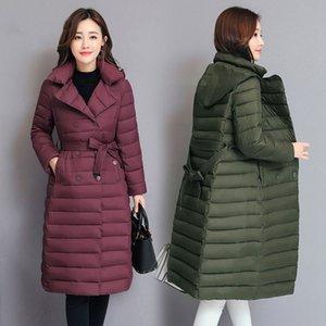 2019 La nueva capa de LISYRHJH Mujeres Parka otoño invierno Delgado Cinturón Chaqueta larga con capucha ropa de invierno chaquetas abrigos Mujer V191209