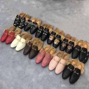Classique mâle Demi-pantoufles authentiques en cuir de vachette souple Fond plat Boucle en métal Chausson à cheveux de luxe Designer femme chaussures Warm pantoufles de laine 42