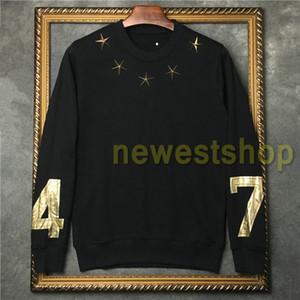 2020 hotselling نجوم الوسم أزياء الخريف ملابس الرجال معدن الذهب 74 الساخنة هوديس طباعة الطوابع السترة مصمم قميص من النوع الثقيل إمرأة لاعبا