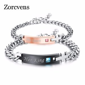 Modyle New DIY Her King His Queen Wedding Bracelets Stainless Steel Crytal Crown Charm Bracelets For Women Men Drop Shipping