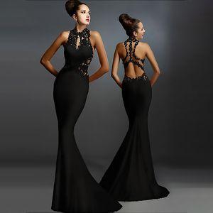 Applique pannello Abito senza maniche sexy pacchetto Backless Hip Fishtail del vestito dalla gonna Evening Gown