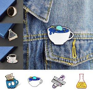 Copa creativa broche del Café Constelación Amor Pin azul rasga el libro Botella Experimento de goteo de aceite broches para la chaqueta insignia joyas regalos unisex