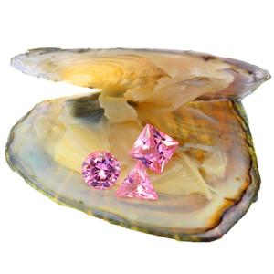 محار الزركون الوردي السائب 8 مم * 8 مم يتم شحن ثلاثة أشكال من الزركون في محار معبأ بالفراغ