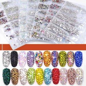 35 renk ß3-SS10 Mix Boyutları Kristal Cam Çiviler Sanat Rhinestones için 3D Nail Art Rhinestones kristallerinin Strass Charms Çiviler Taşlar Aksesuarlar