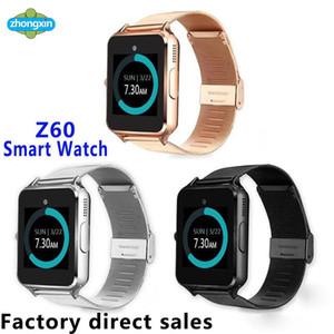 Top Bluetooth Smart Watch Z60 Relojes inalámbricos Relojes inteligentes de acero inoxidable para Android IOS Soporte SIM TF Card Fitness Tracker con caja al por menor