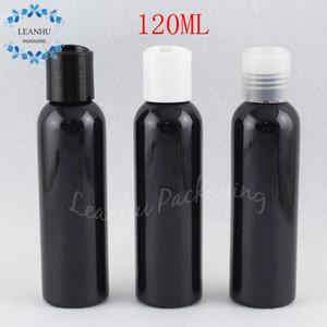 Garrafa 120ML plástico preto Com Cap Top Disc, 120cc Maquiagem água / Toner Embalagem Garrafa, Esvaziar recipiente cosmético