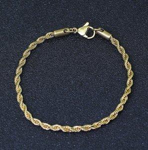 Hip-hop 3 millimetri 7 pollici torsione in acciaio inox catena Braceletmen catene d'oro bracciali in oro argento regalo trasporto libero