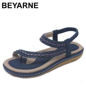 BEYARNES ето Женщины плоские сандалии обувь Женщина Богемии флип-флоп Кристалл 2018 Casual пляж сандалии 35-42 Женщины гладиатор сандалии CX200618