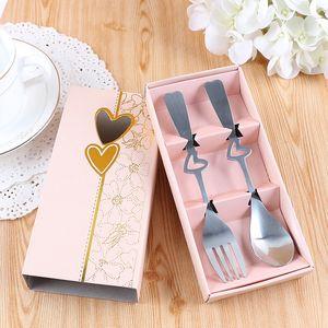 Art de la table de haute qualité en acier inoxydable Coffret d'impression personnalisé style chinois cadeau de mariage durable Chopstick cuillère de vaisselle DH0040