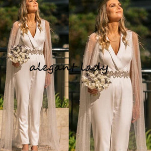 Luxury Crystal Belt Wedding Jumpsuit Gown With Long Wrap Cape 2020 V-neck Ankle Length Outfit Country Garden Bridal Pant Suit Dress