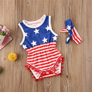2020 Summer Toddler Clothing Baby Girls Sleeveless USA Independence Days Overall Hairbands infant Two Piece Set 2020 Striped Jumpsuit D6415