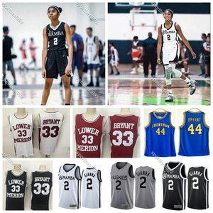 Hommes NCAA Huskies de UConn Hommage College Gianna Maria Onore Gigi Mamba Lower Merion # 33 # Bryant Memorial Basketball lycée Maillots