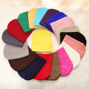 Fashion Elastic Kids Knitted Hats Children 22 Colors Warm Winter Cap Baby Candy Color Beanie Hat Outdoor Ski Cap TTA1614