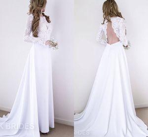 Robe de mariée bohémienne élégante à manches longues sans bretelles A-ligne de robe de mariée vintage pas cher en dentelle blanche à la plage Boho, plus la taille