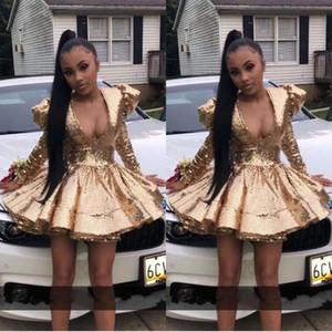 Black Girl africano Sexy Pescoço V ouro lantejoulas completa Vestidos Cocktail Puffy almofada de ombro Curto Prom Dress 2020 manga longa Baile Vestido