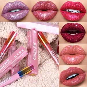Cmaadu блеск для губ блеск для губ бархатный матовый оттенок для губ 6 цветов водонепроницаемый длительный алмаз вспышка мерцание жидкая помада