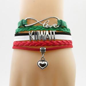 Love Kuwait National Flag Braccialetto cuore fascino Kuwait Flag bracciali in pelle braccialetti per donna e uomo gioielli regalo