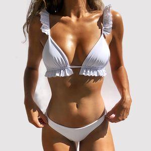 Sexy Bikinis Ruffles Backless Swimsuit Women Low Waist Beach Wear Women Bathing Suit Triangle Bikinis Set Summer Biquinis Set