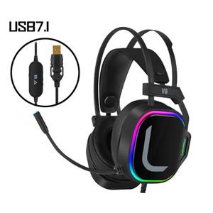 다채로운 LED 게임 헤드폰 USB 7.1 소녀 핑크 노이즈 PC 컴퓨터 노트북 전화 게임 3.5mm의 마이크 이어폰 스테레오 헤드셋을 취소