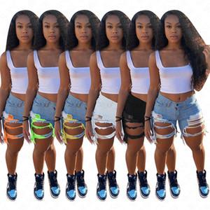 2020 Buracos Womens Denim Jean Shorts afligido estiramento Wash Denim Biker Shorts Cut Off desgastado Hem Luz Azul Branco Preto Treino D62807