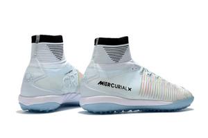Cristiano Ronaldo Futbol Boots kapalı Orjinal Beyaz CR7 Futbol Profilli Mercurial Superfly V IC / TF Kapalı Futbol Ayakkabı