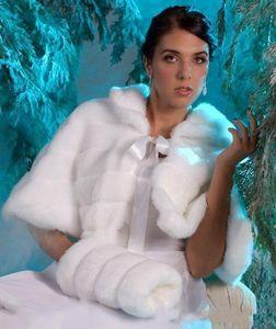 Inverno Vintage barato em stock Hot Branco Marfim Faux Fur Com Muffs casamento Jacket transporte Wraps nupcial Warmer Mulheres Xaile Capes gratuito