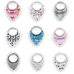 신생아 베이비 Bibs 20 색 만화 Prtinted Tassels 입 워터 타올 유아 트라이앵글 Bibs 베이비 버클 Burp Cloths