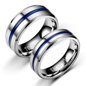 Acero inoxidable Cinta azul Anillo Groove Band Anillos Regalo de anillo de bodas Joyería de moda para mujeres Hombres
