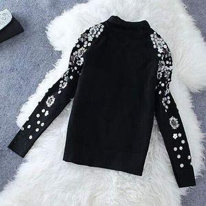 Pull GIGOGOU Ricamo donne maglione dolcevita Autunno Inverno Femminile del ponticello del pullover perline paillettes a maniche lunghe Femme Hiver